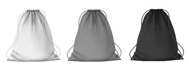 Макет спортивного рюкзака. школьные пустые сумки на шнурках с завязками для одежды и обуви. реалистичный набор векторных белый, серый и черный мешочек 3d. иллюстрация школьная сумка, макет рюкзака