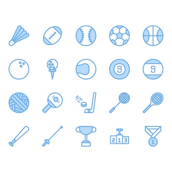 Sport ball equipment icon set
