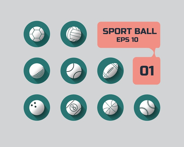 Sport ball flat icon for web and mobile set