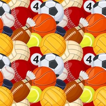 Спортивный мяч бесшовные модели игры бейсбол футбол футбол теннис хоккей мультфильм вектор текстуры