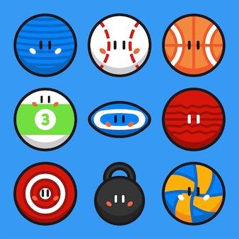 Спортивные мячи мультфильм векторные иллюстрации набор 2