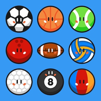 Спортивные мячи мультфильм векторные иллюстрации набор