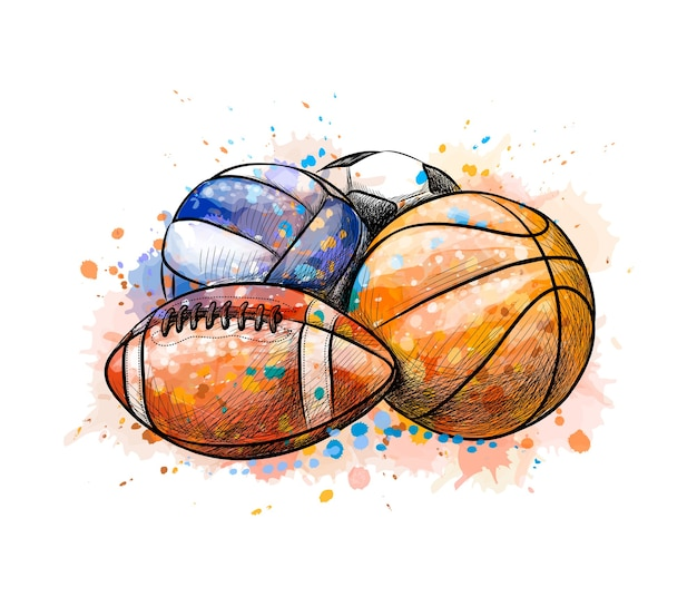 Sport balls collection football basketball volleyball from a splash of watercolor, hand drawn sketch.  illustration of paints