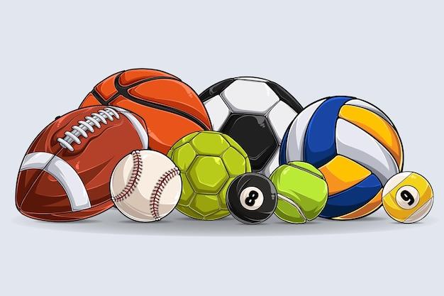 Коллекция спортивных мячей, изолированные на белом фоне