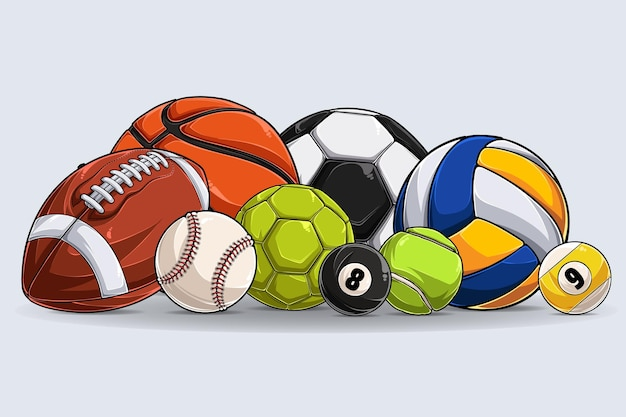 Sport balls collection isolated on white background