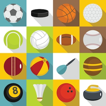 Sport balls icons set, flat style