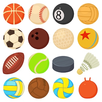 Sport balls icons set play types