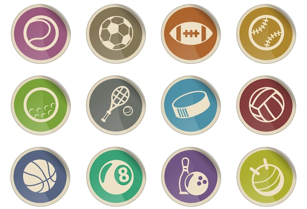 Sport balls vector icons in the form of round paper labels