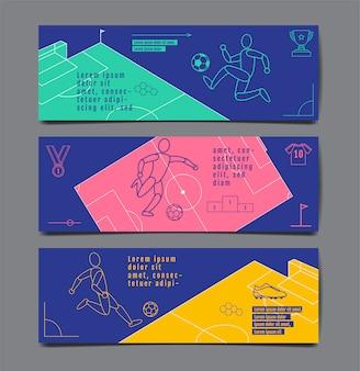 スポーツバナーテンプレートデザイン、フラットデザイン