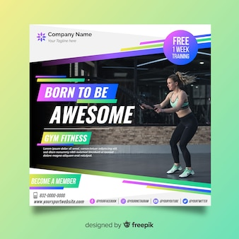 Sport banner template with photo