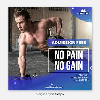 Sport banner with photo flat design