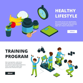 Sport banners isometric. health exercises fitness athletic peoples sports competition  3d illustrations