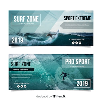 Sport banners template with photo