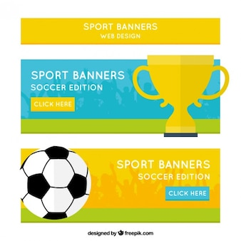 Sport banners with a trophy and a ball
