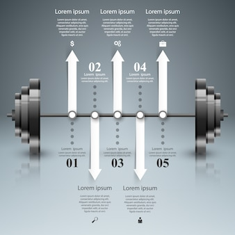 Sport barbell infographic.