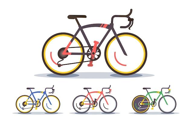スポーツバイクセットイラスト。現代のマウンテンバイクのコレクション