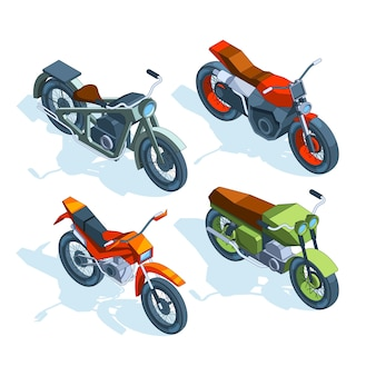 Sport bikes isometric. isometric pictures of various motorcycles