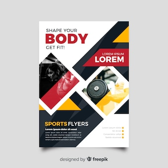 Sport body lifting flyer with photo