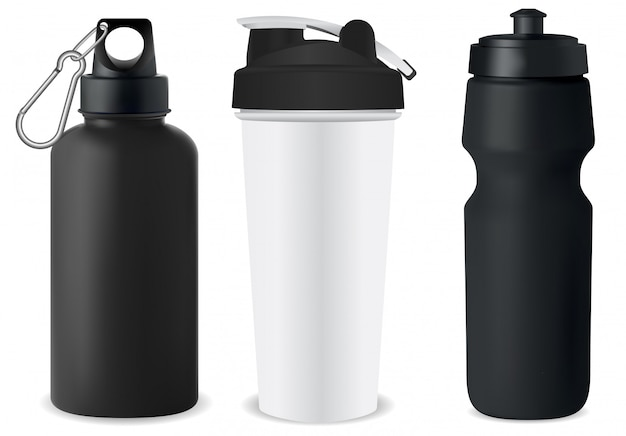 Sport bottle set. water flask mockup. protein can
