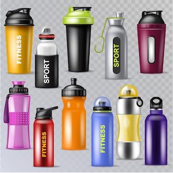 透明な背景に分離された瓶詰めフラスコのスポーツセットスポーツボトルスポーツウォーターボトル入りドリンクサーモとフィットネスプラスチックエネルギー飲料イラストスポーツセット