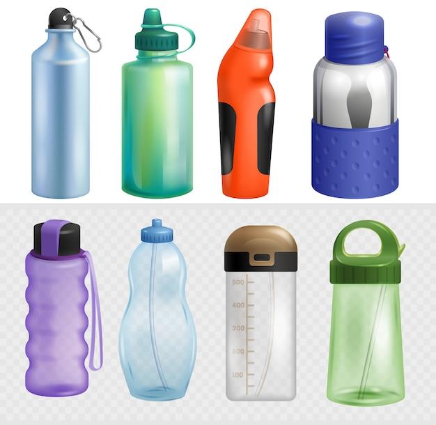 スポーツボトルスポーツウォーターボトル入りドリンクサーモとフィットネスプラスチックエネルギー飲料ストローイラストスポーツの瓶詰めフラスコの白い背景で隔離のセットをスポーツ