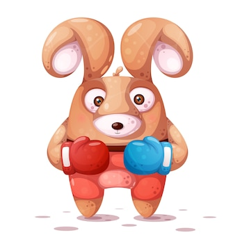 Sport, boxing illustration. crazy rabbit characters