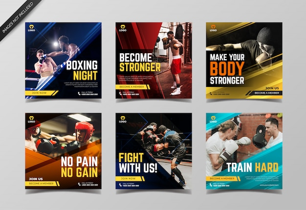 Sport boxing instagram post collection template