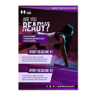 Sport brochure template with photo