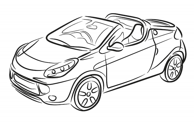 Sport cabrio hand drawn. car sketch.