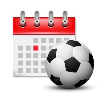 Sport calendar and soccer realistic foot ball