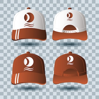 Sport caps branding accessory icon Premium Vector