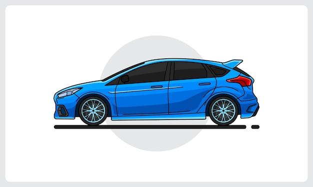 Sport car blue color side view easy editable