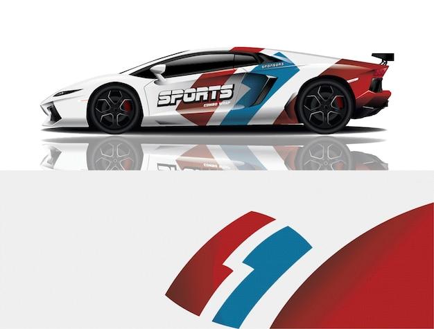 Sport car decal warp design vector