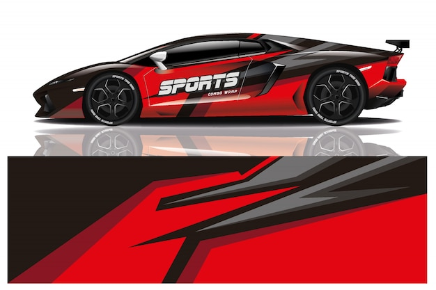 Sport car decal wrap design