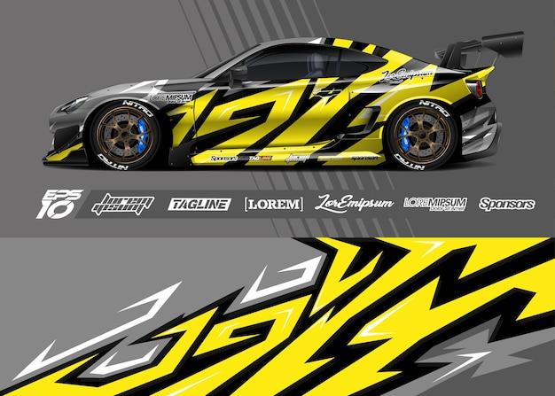 Иллюстрация обертывания наклейки спортивного автомобиля