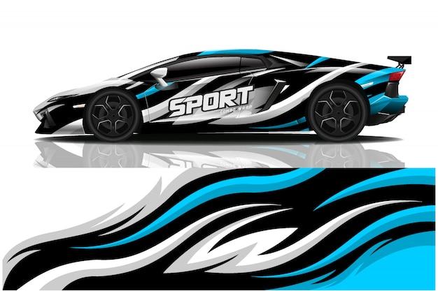 Sport car decal wrap illustration