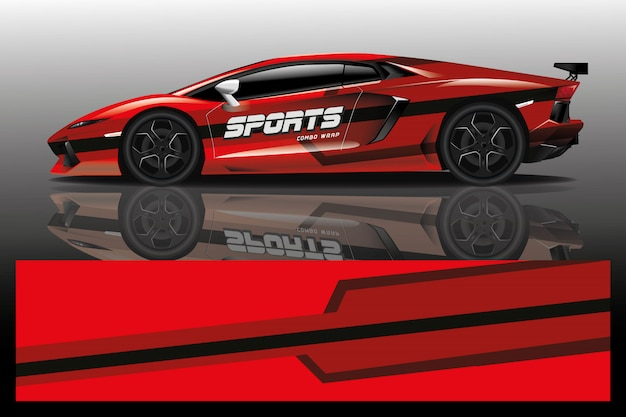 Sport car decal wrap illustration