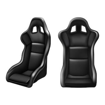 Водительское сиденье спортивного автомобиля в черной коже. на белом фоне. вид спереди и сбоку.