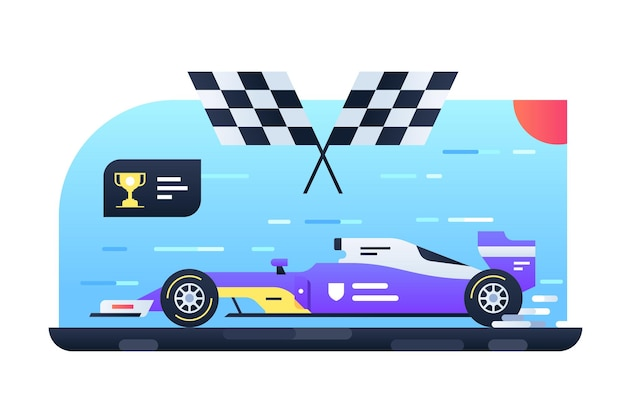 レースイラスト用スポーツカー。競技用フラットスタイルの高速自動車。高速で自動。フォーミュラレーシングとチューニングのコンセプト。孤立