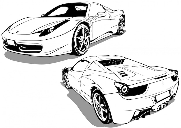 Sport car from front view and back view