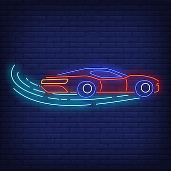 Sport car increasing speed in neon style