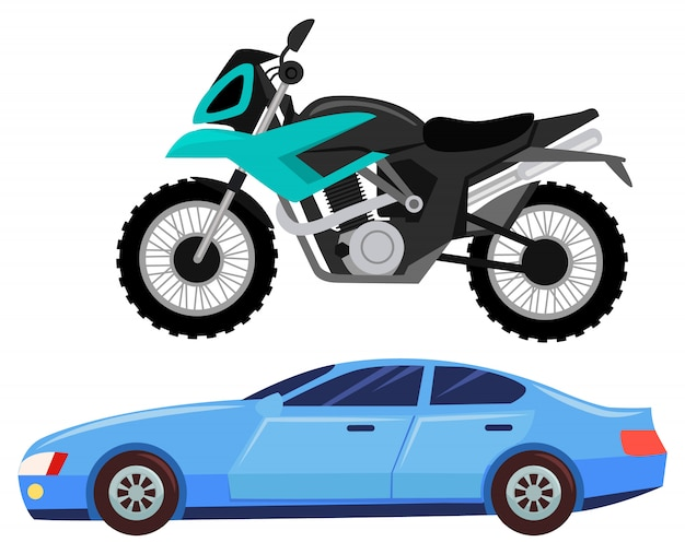 Sport car and motorbike, vehicle transport