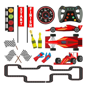 Sport car racing icons set