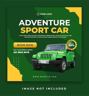 Sport car sale banner or social media promotion post template