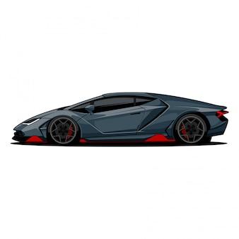 スポーツカーの側面図