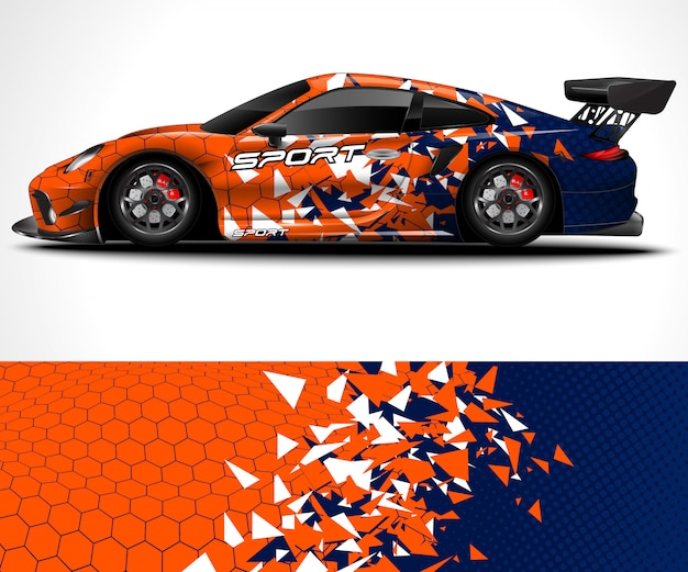 Абстрактный фон для гоночного дизайна sport car wrap и ливреи автомобиля