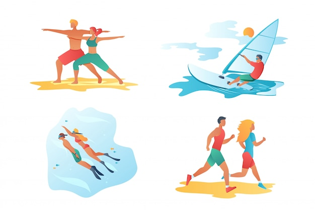 Sport cartoon characters scenes