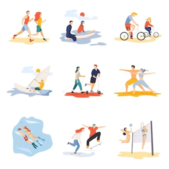 Sport cartoon characters set isolated