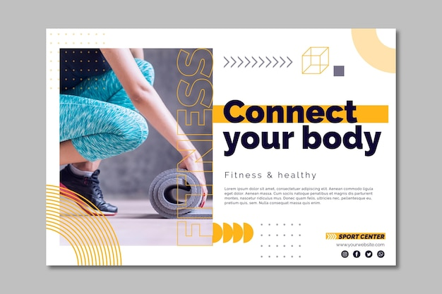 Sport center banner template with photo