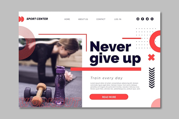 Sport center home page template with photo